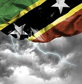 Saint Kitts and Nevis waving flag on a bad day