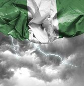 Nigeria waving flag on a bad day