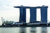 SINGAPORE - CIRCA MAY 2014: The Marina Bay Sands Resort Hotel in Singapore. It is an integrated resort and the world's most expensive standalone casino property at S$8 billion.