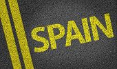 Spain written on the road