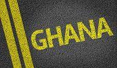 Ghana written on the road