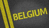 Belgium written on the road