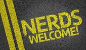 Nerds Welcome! written on the road