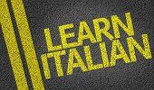 Learn Italian written on the road