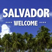 Salvador, Welcome written on a beautiful beach background