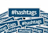 stock photo of hashtag  - Hashtags written on multiple blue road sign - JPG