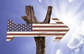 USA wooden sign on a beautiful day