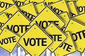 Vote written on multiple road sign