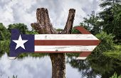 Liberia wooden sign with a forest background