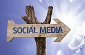 Social Media wooden sign on a sky background