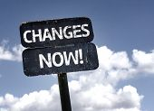 Changes Now! sign with clouds and sky background