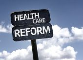 foto of universal sign  - Health Care Reform sign with clouds and sky background  - JPG