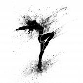 picture of break-dance  - dancing girl black splash paint silhouette isolated white background - JPG