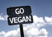 Go Vegan sign with clouds and sky background