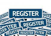 Register written on multiple blue road sign