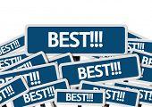Best!!! written on multiple blue road sign