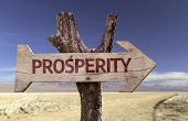picture of prosperity sign  - Prosperity wooden sign with a desert background - JPG