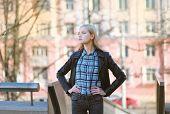 Stylish Girl Rocker Posing In The City
