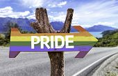 Pride in a Rainbow wooden sign with a street background