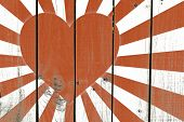 pic of japanese flag  - Japanese Heart Flag on wooden background - JPG
