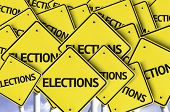 Elections written on multiple road sign