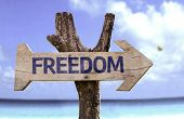 Freedom wooden sign with a beach on background