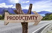 Productivity wooden sign with a street background