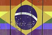 Brazil Gay Flag on wooden background
