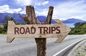 Road Trips wooden sign with a landscape background