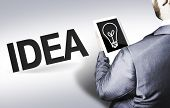 Business man with the text Idea in a concept image