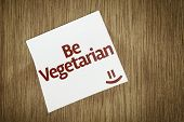 Be Vegetarian on Paper Note on texture background