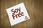 Soy Free on Paper Note on sky background