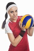 picture of outfits  - Female Volleyball Player Equipped in Professional Sport Outfit - JPG