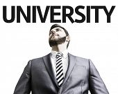Business man with the text University in a concept image
