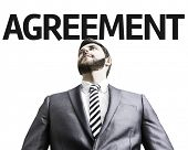 Business man with the text Agreement in a concept image