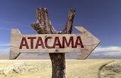 Atacama wooden sign with a desert background