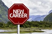 New Career written on red road sign with landscape background
