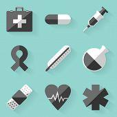 Flat icon set. Medical. White style