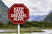 Keep Your Dreams Alive written on red road sign with landscape background