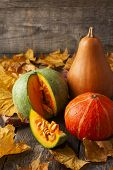 Three Pumpkins Of Different Colors And A Piece Of Pumpkin On Wooden Background Strewn