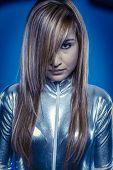Futuristic.Fiber Optic concept, woman with modern lights