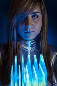 Virtual Technology.Fiber Optic concept, woman with modern lights