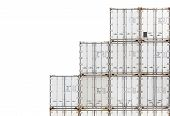 Stack of container shipping isolated on a white background