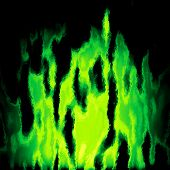 image of plasmatic  - Burning green fire generated texture or background - JPG