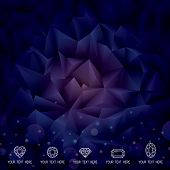 Abstract polygonal gems crystal dark background.
