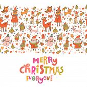 pic of rabbit year  - Cartoon Christmas card for winter holidays designs in bright colors - JPG
