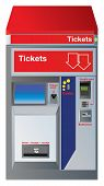 Ticket machine with slots for credit card, coins,banknotes and drawer to pick up change plus receipt. Vector color illustration.
