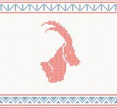 Christmas knitted pattern with goat. New year's vector illustration