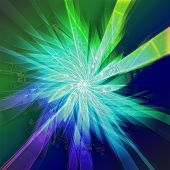 Starburst In Green And Blue With Silhouettes