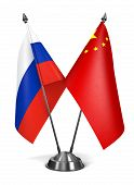 Russia and China - Miniature Flags.